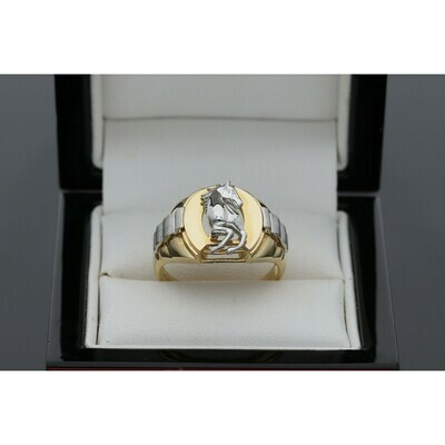 14 Karat Gold Two tone Horse Ring