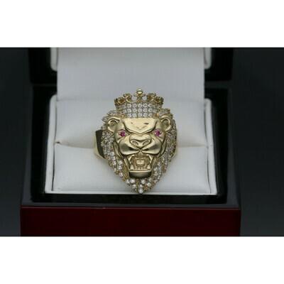 10 karat Gold & Zirconium Lion Ring