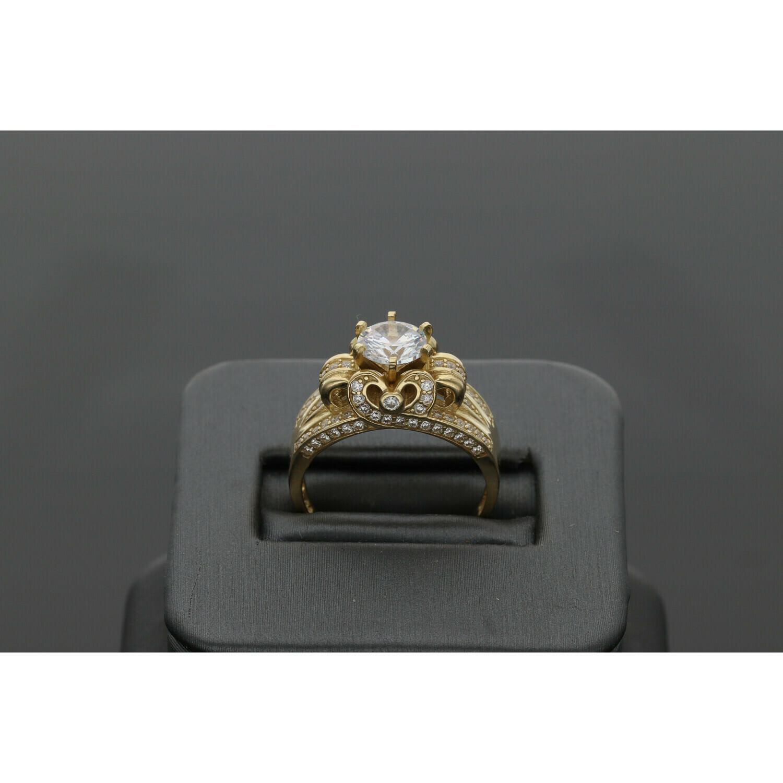 10 Karat Gold & Zirconium Princess Woman Ring