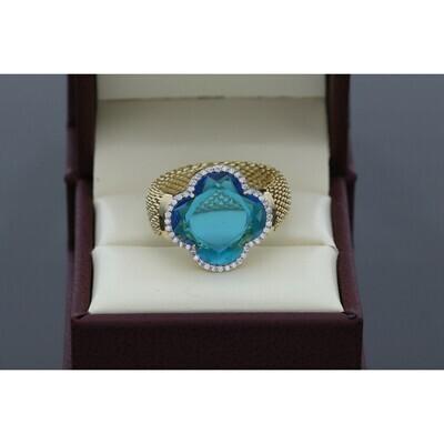 14 Karat Gold & Zirconium Blue Gen Popcorn Flower Ring