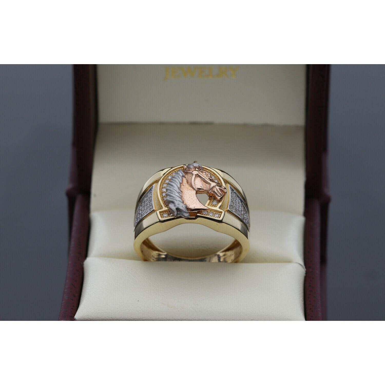 14 karat Gold & Zirconium Rose Horse Ring