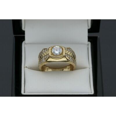 10 karat Gold and CZ Maze Fancy Ring Size 11 W: 6.6g ~