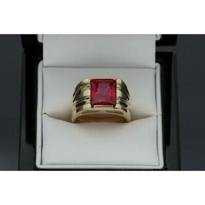 14 karat Gold & zirconium Red Square Ring