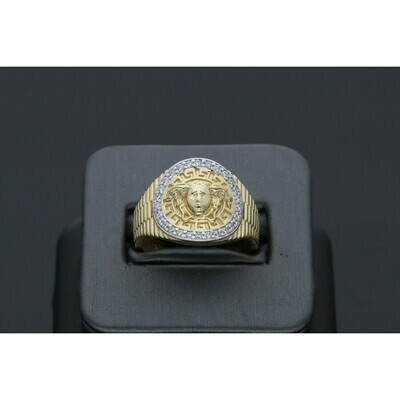 14 karat Gold & Cz Medusa Ring Size 11 W: 6.8 ~