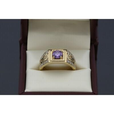 10 karat Gold & Zirconium Purple Fancy Ring