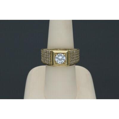 10 Karat Gold & Zirconium Fancy Ring Square Ring