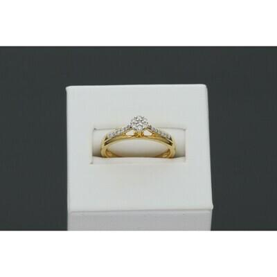 14 karat Gold 0.25 ctw Flower Diamond Promise Ring S:7 W:2.9 ~