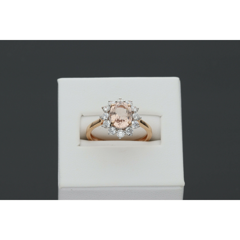 14 Karat Gold & Diamond & Morganite Big Gem Ring