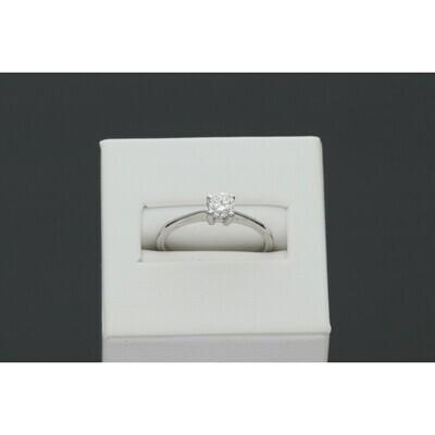 14 karat White Gold 0.28 ctw Diamond 4-Prong Solitaire Ring Size 7 W: 1.9 ~