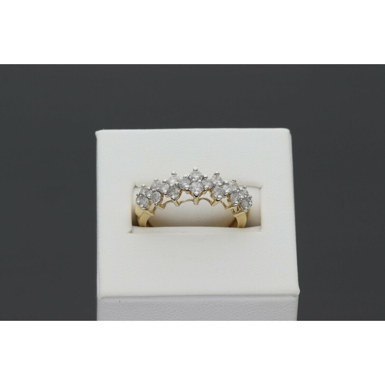14 Karat Gold & Diamond Fancy Honey Comb Ring