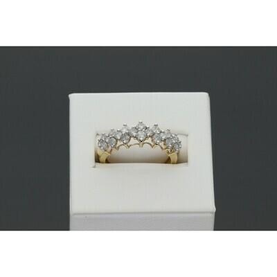 14 Karat Gold and Diamond 1.10 CTW Fancy Honey Comb Ring S: 7.5 W: 2.8g ~