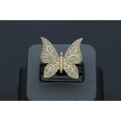 10 Karat Gold & Cz Butterfly Ring