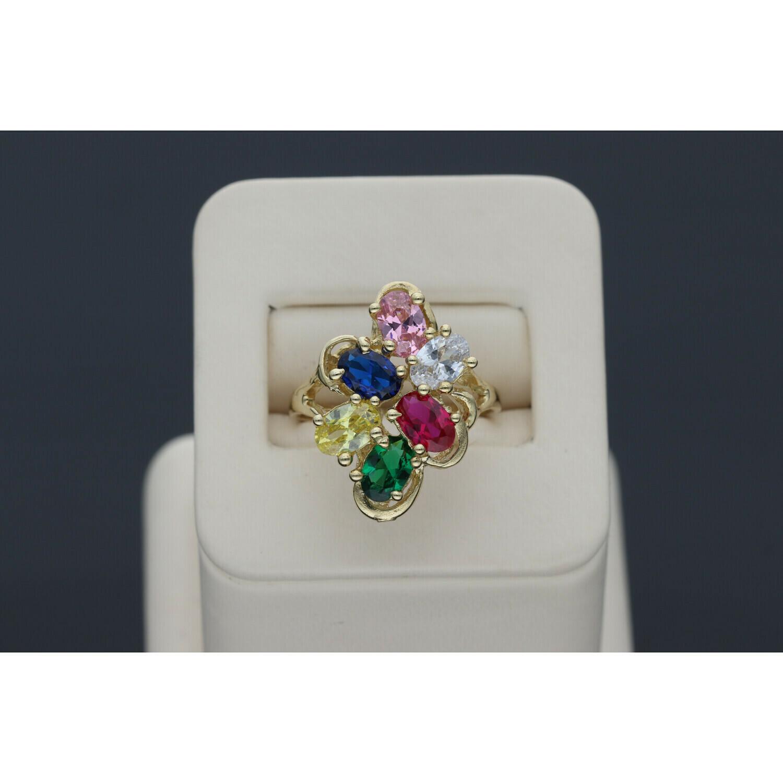 14 Karat & Zirconium Gold Colorful Ring