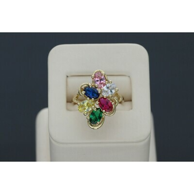 14 karat and CZ Gold Colorful Ring Size 7.5 W: 4.5 ~