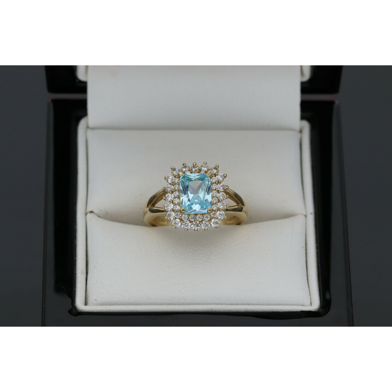 10 karat  Gold & Zirconium Light Blue Square Stone Ring