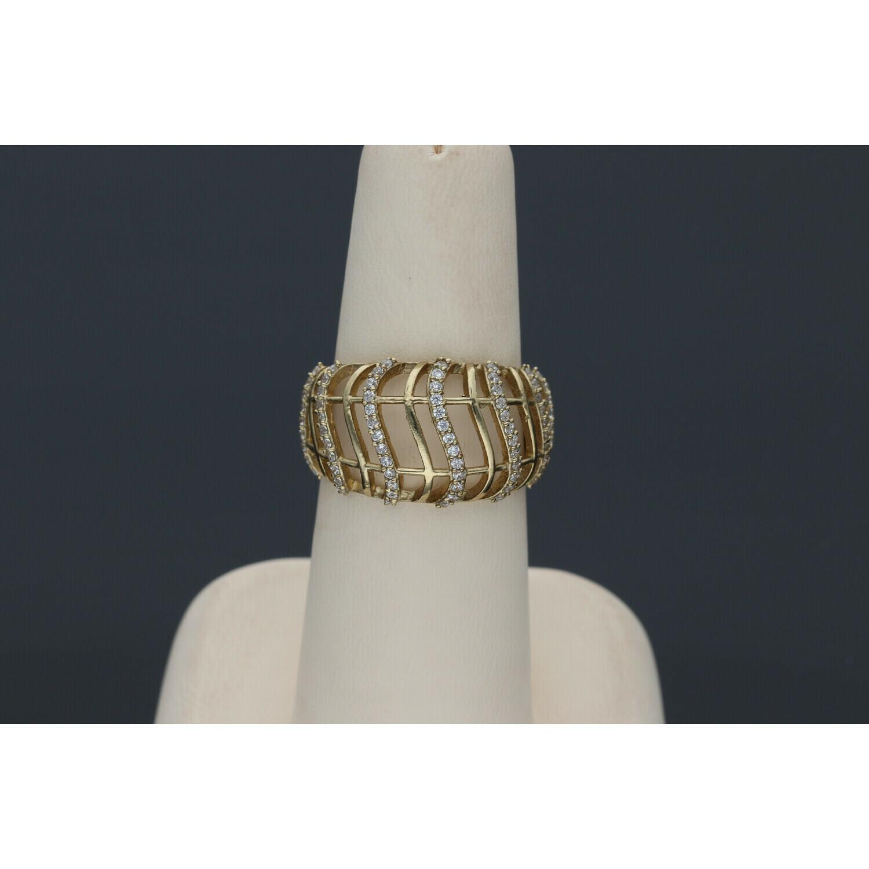 10 karat Gold & Zirconium Fancy Band Ring