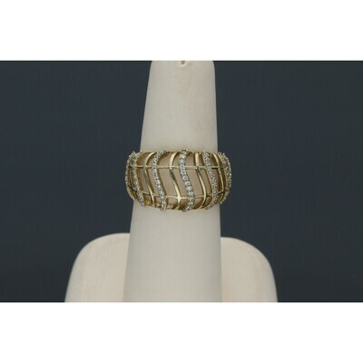 10 karat Gold & Zirconium Fancy Band Ring