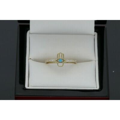 10 Karat Gold & Zc Hamsa Ring S: 8 W: 1.2 ~