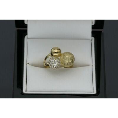 10 karat Gold & Zirconium Three balls Texture Ring