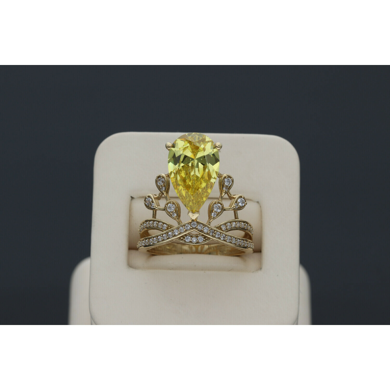 10 karat Gold & Zirconium yellow Gem Crown Ring