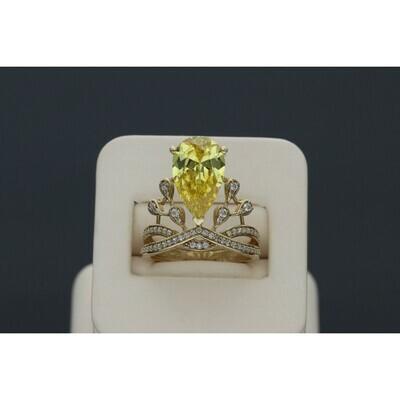 10 karat Gold & Zirconium yellow Gem Crown Ring