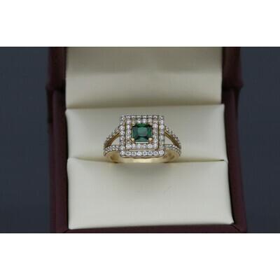 10 karat Gold & Zirconium Green Square Stone Ring
