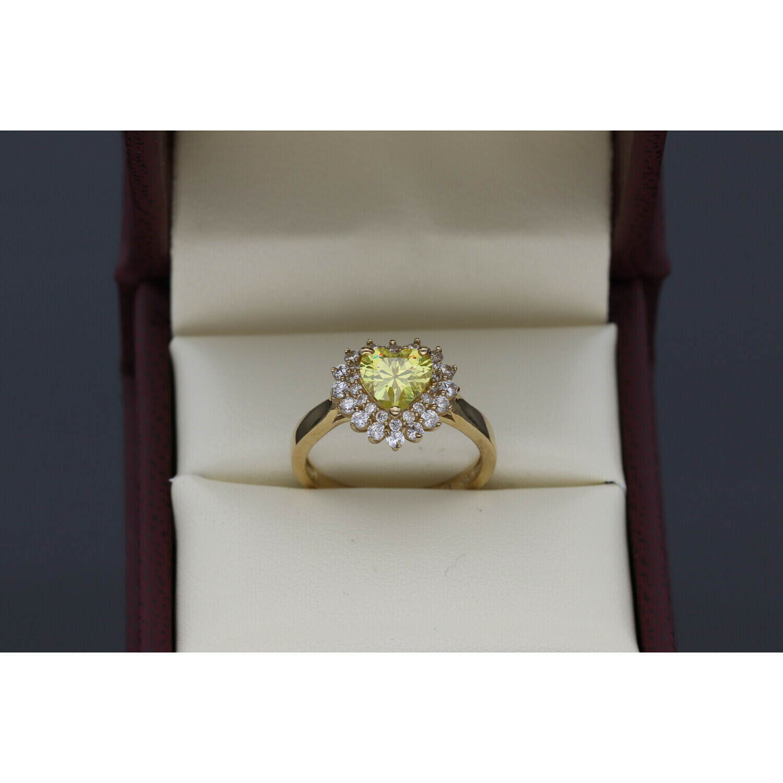 10 karat Gold & Zirconium Yellow Heart Ring