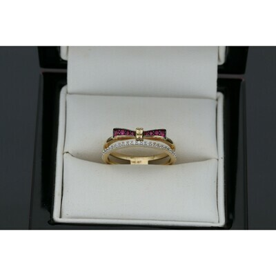 14 karat Gold & Zirconium Fancy Ribbon Ring