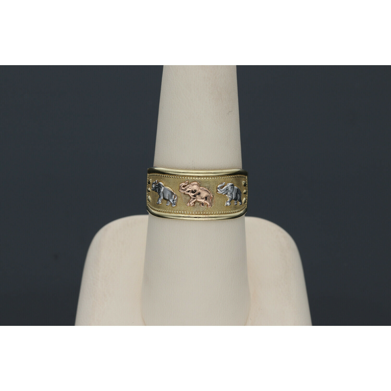 10 karat Gold Three Tone Elephants Band Ring