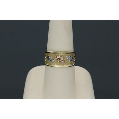 10 karat Gold Three Tone Elephants Band Ring