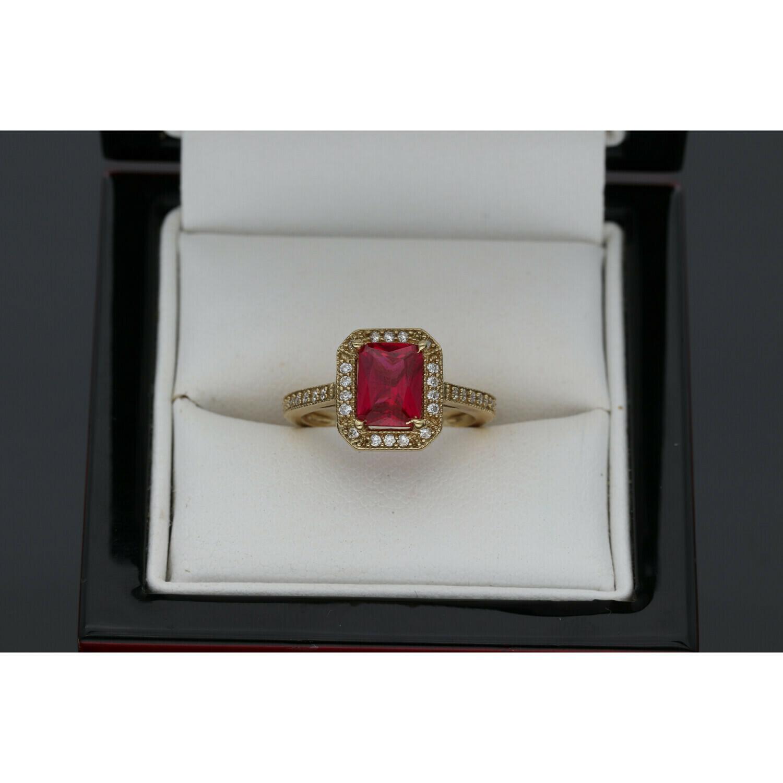 10 karat Gold & Zirconium Square Ring