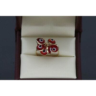 14 Karat Gold Multiple Red Eye Ring