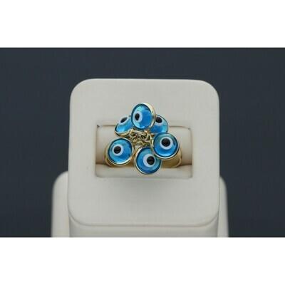 14 Karat Gold Multiple Blue Eye Ring