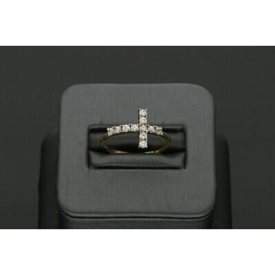 10 Karat Gold & Zirconium Cross Ring