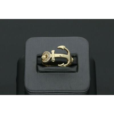 14 karat Gold & Zirconium Anchor Ring