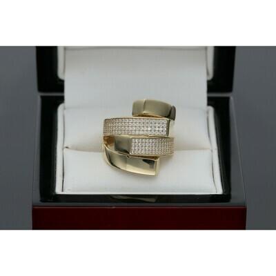 14 Karat Gold & Zirconium Crossing Ring