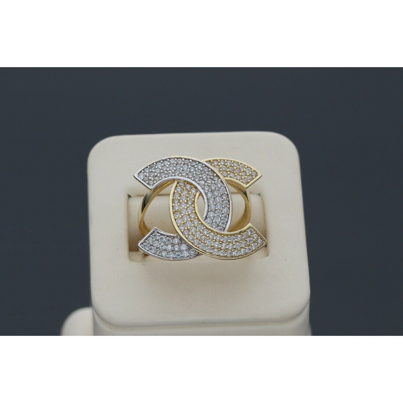 14 Karat Gold & Zirconium Two Tone Fancy Ring