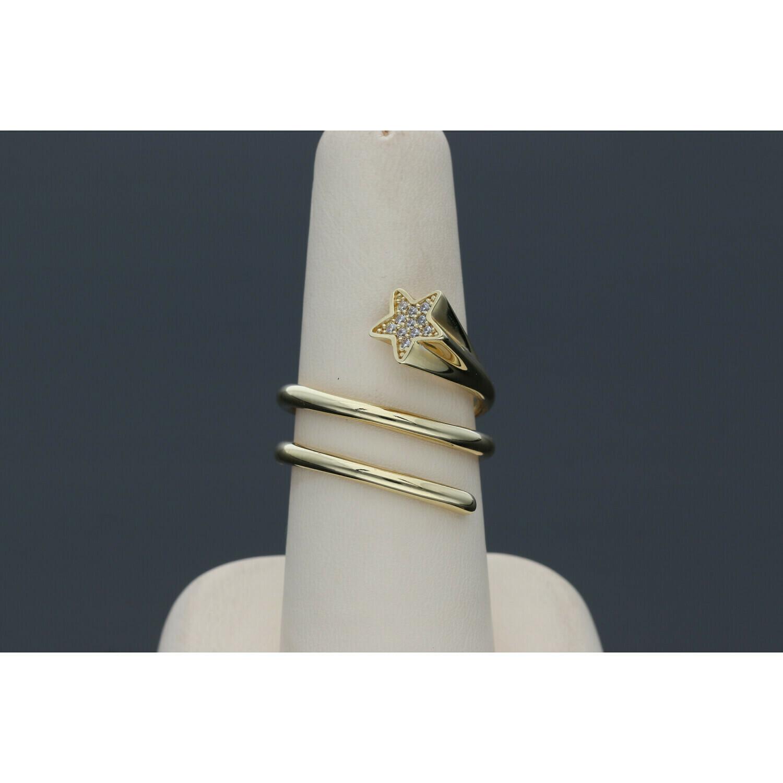 14 karat Gold & Zirconium Spiral Star Ring