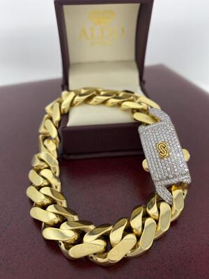 10 Karat Gold & Zirconium Cuban Link Monaco Bracelet
