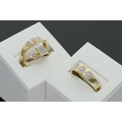 14 Karat Gold & Diamonds Hexagon Rectangle Wedding Trio Set Rings