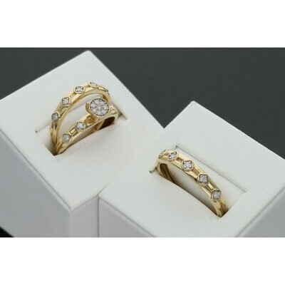 14 Karat Gold & Diamond Trio Wedding Set Ring