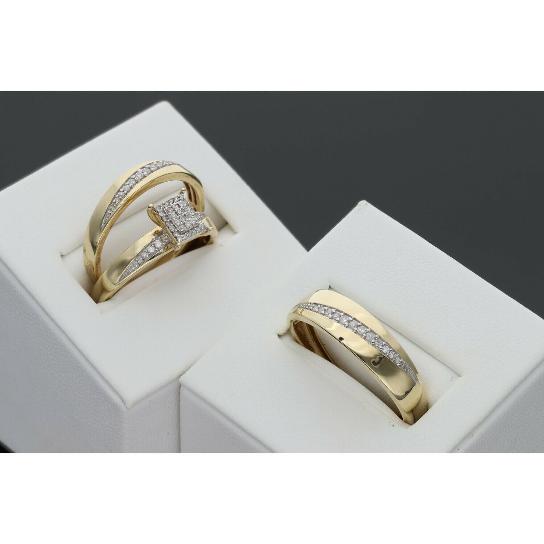 14 Karat Gold & Diamond Trio Wedding Rings