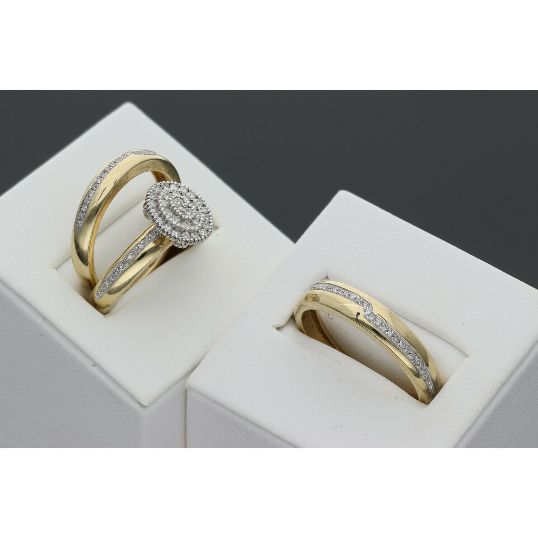 10 karat Gold & 0.50 CTW Diamond Wedding Ring Trio Set S: 7-10 W: 7.3 ~