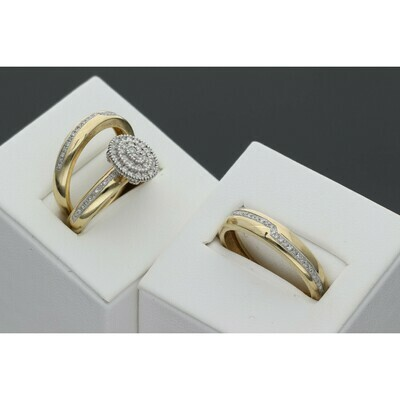 10 karat Gold & 0.50 CTW Diamond Wedding Ring Trio Set S: 7-10 W: 7.3 ~