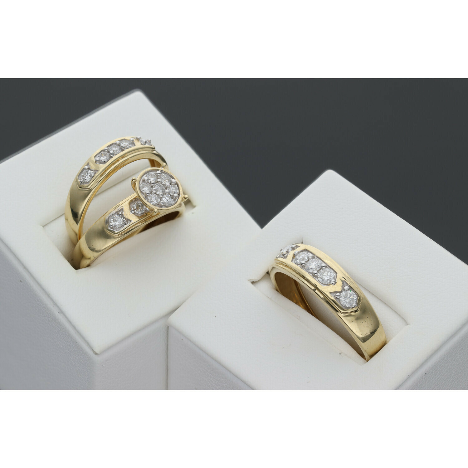14 karat Gold & Diamond Trio Wedding Rings