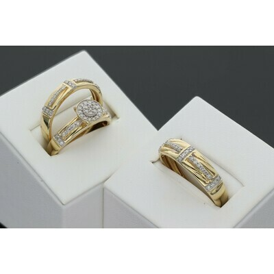 14 karat gold circle simetric lines wedding ring trio 0.50 ctw S: 7-10 W: 7.1 ~