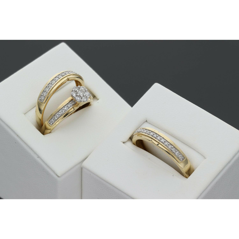 14 Karat Gold & Diamond Trio Wedding Set Ring