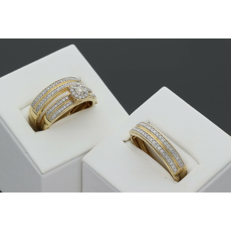 14 Karat Gold & Diamond Flower Oval Wedding Trio Set Ring