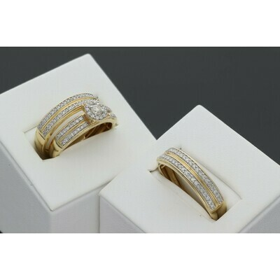 14 Karat Gold & Diamond Flower Oval Wedding Trio Set Ring