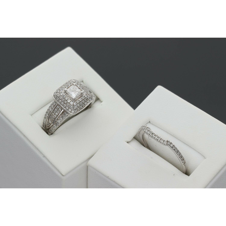 14 Karat White Gold Diamond Bridal Wedding Set Duo Rings